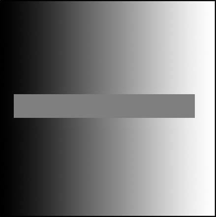 The grey bar in the middle is a solid color. We only perceive it as darker on one side than the other because of contrast with the surrounding color.