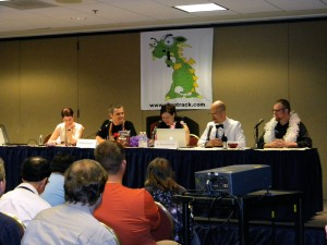 The Skeptic Zone podcast from Dragon*Con 2009. From left to right: Kylie Sturgess, Richard Saunders, Rachael Dunlop, and guests George Hrab & Daniel Loxton